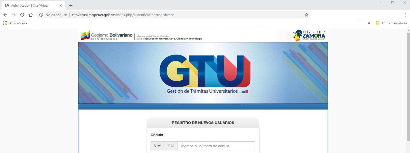 Sistema para registrarse en GTU
