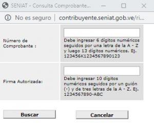 Consulta de comprobante digital del RIF