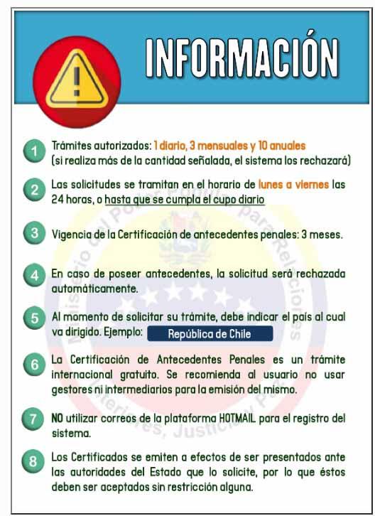 información solicitud de antecedentes penales venezuela