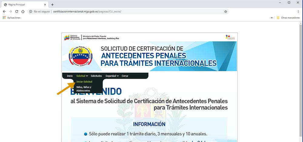 solicitud mpprij venezuela