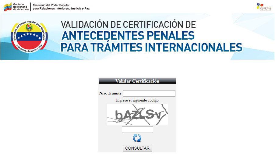 validación certificación de antecedentes penales