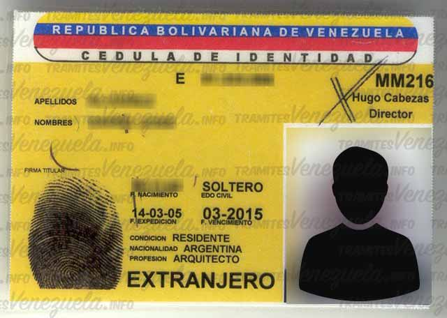 cédula de identidad extranjero Venezolana