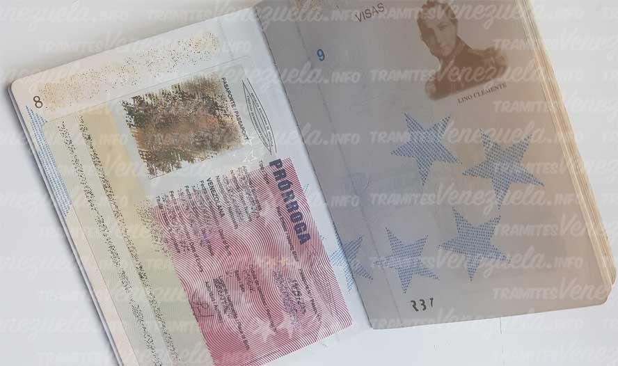 prorroga de pasaporte venezolano SAIME