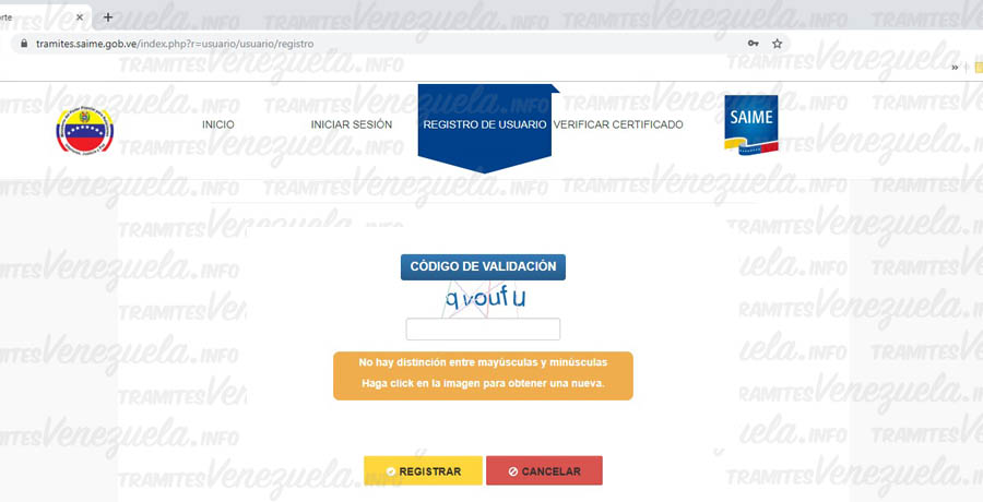 registro de usuario en SAIME pasaporte