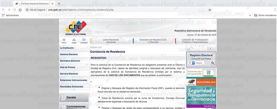 Constancia de residencia CNE para el carnet fronterizo